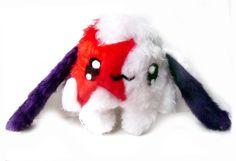 Fluse :Kleiner Bunny- Hase aus hochwertigem Kuschel -Plüsch,Fell-Imitat in Rot- Weiss   ! Einzelstück!Unikat! Nach eigener Vorlage hergestellt! Mas...