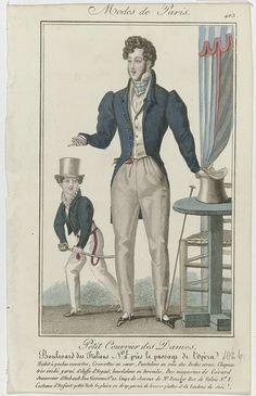 Anonymous | Petit Courrier des Dames, 1826, No. 403 : Habit à poches ouvertes..., Anonymous, Dupré (uitgever), 1826 | Man in een 'habit' met open zakken, vest en spanbroek van ecrukleurige 'soie des Indes' (zijde). Op het hoofd een hoge hoed met opstaande smalle rand versierd met zilverkleurige stof en koordvormig hoedenlint, uit de winkels van Gérard, opvolger van Imbault. Kapsel door Mr Foucher. 'Cravattes en coeur' Verdere accessoires: handschoenen, wandelstok, platte schoenen met…