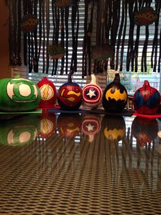 Superhero pumpkin decorations!