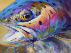 Face Of A Rainbow- Rainbow Trout Portrait Print By Mike Savlen