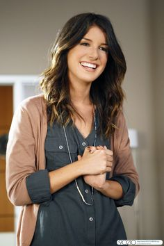 Grey Shirt + thin beige cardigan - Shenae Grimes 90210 style