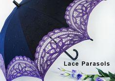 Curved Black Purple Battenburg Lace Parasol, Victorian Sun Umbrella Chic Elegant #Unbranded #Parasol