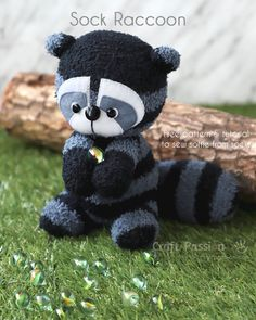 "Sock Raccoon is a stuffed softie animal sewed from a pair of striped microfiber chenille socks. It is about 8"" tall, with a cuteness overloaded expression. A best handmade gift to sew for any occasion. – Page 2 of 2"