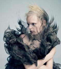 "before you kill us all: COVER & EDITORIAL A Magazine Curated by Iris van Herpen ""Materia Lacrima"" feat. Hanne Gaby Odiele by Pierre Debusschere Iris Van Herpen, Look Fashion, Fashion Art, Editorial Fashion, Fashion Design, Ghost Fashion, Fashion Moda, High Fashion, Pierre Debusschere"