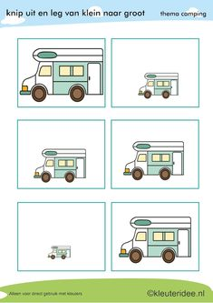 Camper from large to small for toddlers, theme camping, kleuteridee. Kindergarten Math Activities, Toddler Learning Activities, Kids Learning, Camping Vans, Camping Theme, I Love School, Pre School, Sequencing Cards, Transportation Theme