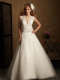 $290 A-Line V-neck Flower Organza Chapel Train Wedding Dress at Millybridal.com