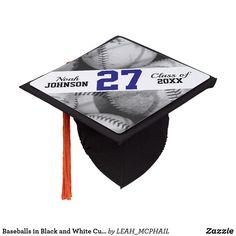 Baseballs in Black and White Custom Jersey Number Graduation Cap Topper - graduation gifts giftideas idea party celebration Graduation Cap Toppers, Graduation Cap Designs, Graduation Cap Decoration, Grad Cap, Graduation Party Planning, Graduation Party Invitations, Graduation Gifts, Graduation Celebration, Graduation Ideas
