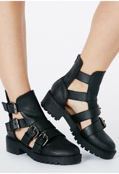 Amy Buckle Side Cut Out Boots - footwear - boots - missguided