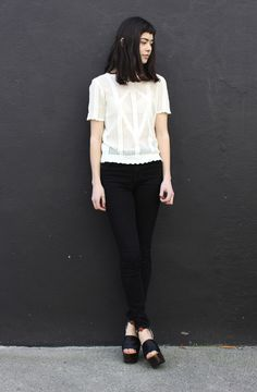 knitted blouse + black skinny jeans + sandals : heels, party outfit