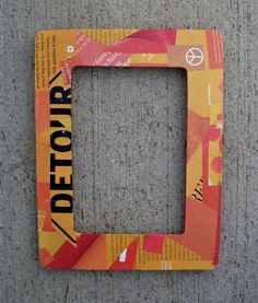 Orange Recycled Decoupage Rectangular Picture by crazyaboutgreen, $12.00