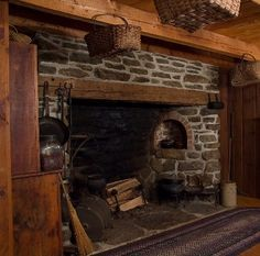 """Wow, what a hearth. Another pinner--->""""My Gran's cottage in Scotland had a fireplace that she would use to make soup in a pot over the fire on Monday when she would do laundry. It simmered over the fire all day."""" Custom Colonial Home Reproductions Primitive Homes, Primitive Fireplace, Inglenook Fireplace, Fireplace Hearth, Stone Fireplaces, Primitive Kitchen, Fireplace Ideas, Kitchen Fireplaces, Fireplace Makeovers"""