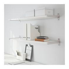IKEA - EKBY JÄRPEN / EKBY BJÄRNUM, Wall shelf, white/aluminum, , The bracket covers the edge of the shelf so you can cut the shelf without the cut edge showing.Partitioning wall inside keeps shelves in place. Home Office Design, House Design, Ikea Ekby, Ikea Canada, Balkon Design, Ikea Us, Affordable Furniture, Bedroom Sets, Wall Shelves