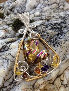 Silver and Gold Triangle pendant - by Arte Laboratae - Katalin KB Walcott