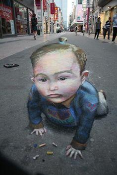 Sidewalk Art.Unknown Artist.Street Art