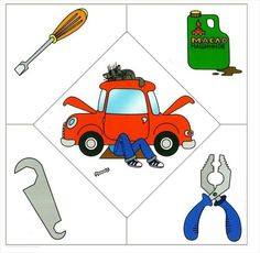 Profesiones puzzle by Nieves Lopez Pons via slideshare Community Workers, Community Helpers, Speech Therapy Activities, Language Activities, Preschool Themes, Preschool Activities, Mécanicien Automobile, Transportation Theme, School Clipart