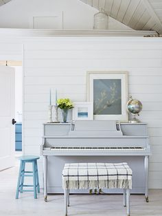 """(That grey is perfect .) Country Living """"I'm almost always painting something white, blue, or turquoise,"""" Amanda says. Proof: the 1970 piano she painted a soothing gray-blue (Paris Gray by Annie Sloan Chalk Paint"""