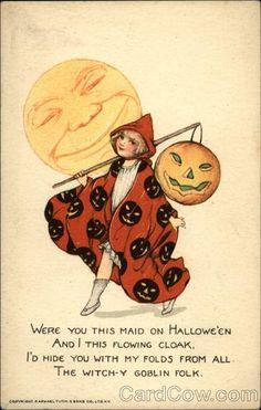 Halloween Fabric Block - Girl w Cloak Full Moon - Repro Samuel Schmucker