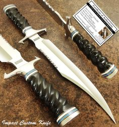 HAND-MADE-BY-IMPACT-CUTLERY-RARE-CUSTOM-D2-BOWIE-KNIFE-IMPALA-BULL-HORN-HANDLE
