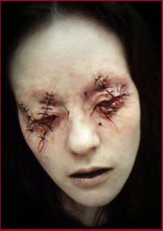 Eyes Stitched Shut. Monster fanatic, Award-winning Special FX Makeup Artist and Blanche Macdonald Makeup instructor/graduate Holland Miller was inspired by the film 'The Devils Backbone' when he designed this freaky makeup look for his Makeup students.  J