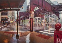 まるで写真のような街の風景のイラスト。雨に濡れた地面がきれい。(via Nathan Walsh)