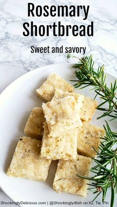 Rosemary Shortbread, a simple sweet cookie with savory undertones from the rosemary, surprises on a holiday cookie tray, or any time of the year when you want a unique sweet. #shockinglydelicious  #rosemary  #shortbreadrecipe  #christmascookies