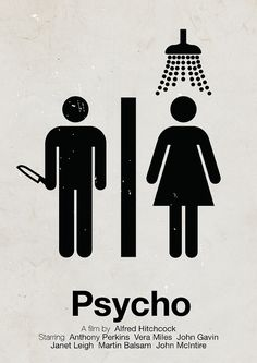 'Psycho' pictogram movie poster by Viktor Hertz (http://www.flickr.com/photos/hertzen/sets/72157625876743038/)