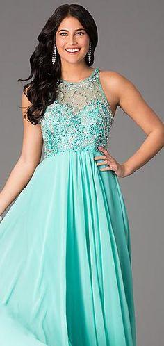 Cute Natural Long A-Line Sleeveless Chiffon Evening Dresses Sale tkzdresses49845ser #longdress #promdress