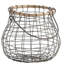 Koszyk druciany z rączką, postarzana miedź