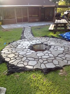 Eye-Opening Useful Ideas: Fire Pit Gazebo Adirondack Chairs fire pit furniture swing sets.Fire Pit Wall Living Spaces small fire pit dream homes.Rusti… - All For Garden Small Fire Pit, Cool Fire Pits, Diy Fire Pit, Paver Fire Pit, Gazebo With Fire Pit, Fire Pit Backyard, Fire Pit Swings, Landscaping With Rocks, Backyard Landscaping