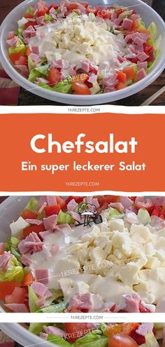 chef salad - Ingredients: 1 head of iceberg lettuce 1 bell pepper (s), red 1 onion (s) cucumber (s) 4 slices - Easy Salad Recipes, Easy Salads, Healthy Salads, Brunch Recipes, Summer Recipes, Summer Salads, Grilling Recipes, Slow Cooker Recipes, Chef Salad