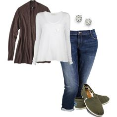 white long sleeve and open cardigan w/ vans or toms