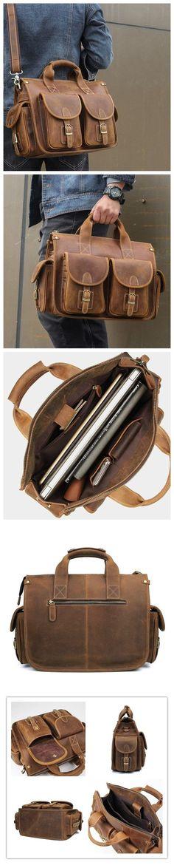 Crazy Horse Leather Men Tote Bag Vintage Messenger Bag Handmade Shoulder Bag W7106-1