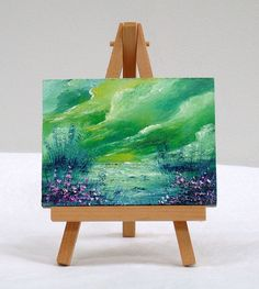 Sunset Beach, 3x4, original oil painting, clouds, small painting, gift by valdasfineart on Etsy