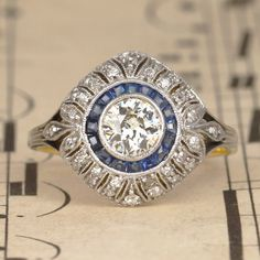 Art Deco Old Cut Diamond and Sapphire Target Ring