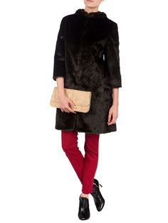Ted Baker Risel Fur Coat, Dark Brown