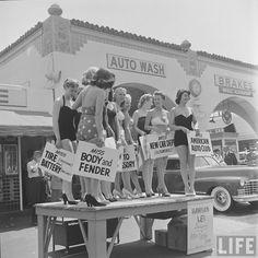 Muller Bros Car Wash . June 1951 . Photo by Allan Grant