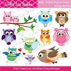 Polka dot Owls Digital Clipart/ 10 Cute Animals by CeliaLauDesigns, $5.00