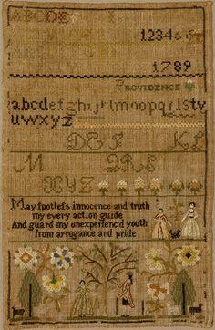 Antique sampler by Caty Field, Balch School, from Betty Ring, Huber
