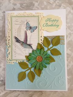 Birthday Card, Happy Birthday, Fancy, Filigree, Vintage,Floral Greeting Card, Luxury Greeting Card Hummingbird
