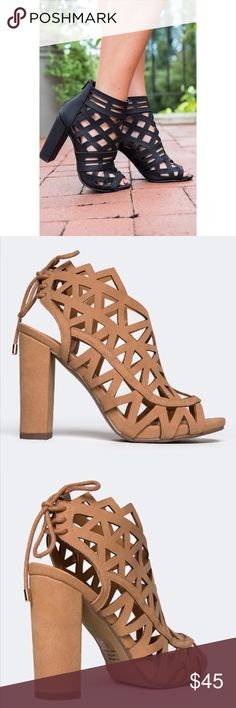 """Tan Laser Cut Caged Sandals Keep calm with these Laser cut, block heel, laced up back sandal! High heel laced up back sandal are made out of Polyurethane with a open toe and will match with cuffed jeans and a hi-lo shirt. Non-skid sole and cushioned footbed. Color- DK-TAN Synthetic upper, synthetic sole Measurements approx: Heel 4.5"""". Fit: Runs true to size. Boutique Shoes Sandals"""