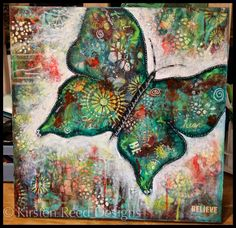Mixed Media Butterfly Canvas designed by Kirsten Reed using StencilGirl stencils.