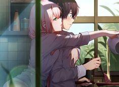 (Hiro x Zero Two) Zero Two : Good morning Darling 💕💕💕 Anime Love Couple, Cute Anime Couples, I Love Anime, Manga Art, Manga Anime, Zero Two, Mädchen In Bikinis, Animes Wallpapers, Darling In The Franxx