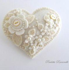 Beautifully Embellished Felt Hearts by Paulette Racanelli / Beedeebabee