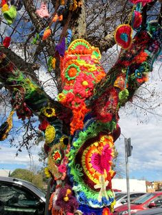 international collaboration by freeform crocheters and knitters, coordinated and assembled by Prudence Mapstone, for the 2016 Jumpers & Jazz in July festival in Warwick, Queensland, Australia