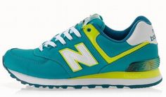 Joes New Balance 574 WL574APT Green Yellow White Womens Shoes