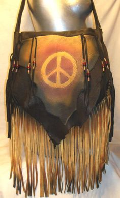 """Vintage 70's Style Purse, Designer Leather Purse with Peace Sign,Lots of Fringe, Hippie Bag, Woodstock,""""DARK PEACE"""""""