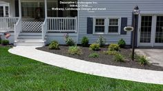 Curved Walkway and new landscape install, dighton, ma Front Yard Landscaping, Walkway, Construction, Outdoor Decor, Ranch, Landscapes, Gardening, Sidewalk, Building