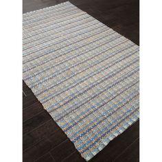Handmade Stripe Pattern Blue/ Grey Cotton/ Jute Area Rug (2'6x4') | Overstock™ Shopping - Great Deals on JRCPL Accent Rugs