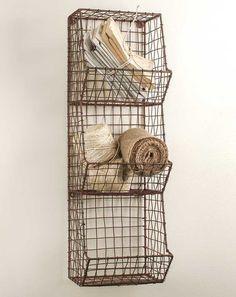 Metal Wire Bin Wall Organizer Bathroom Fruit by ThreeTwigsDesigns