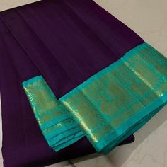 Mindblowing handwoven pure kanjivaram silk in a beautiful deep purple with turquoise green combination with korvai beautiful borders rich pallu and contrast woven blouse cost Ethnic Fashion, Indian Fashion, Women's Fashion, Saree Dress, Saree Blouse, Kanchipuram Saree, Soft Silk Sarees, Turquoise Color, Indian Designer Wear